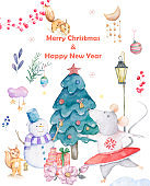 Cute watercolor cartoon set rats and spruce tree. Watercolor hand drawn animals illustration. New Year 2020 holiday drawing illustration. Snowman Merry Christmas gift card. Greeting postcard
