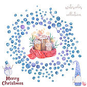 Christmas candle and bubble frame Cartoon clip art illustration on isolated background. Watercolour imitation. Christmas poster or postcard design. Hand drawn illustration on white bakcground