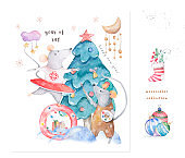 Cute watercolor cartoon rats and spruce tree. Watercolor hand drawn animals illustration. New Year 2020 holiday drawing illustration. Symbol 2020 Merry Christmas gift card. Greeting postcard