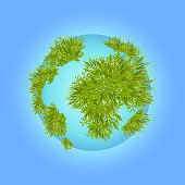 Blue planet with grass. A model of the earth on blue background. Vector illustration