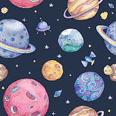 Set of Solar system planets hand drawn illustration. Seamless space pattern background.