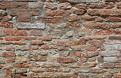wall made of red bricks ideal as a rustic background