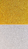 glittery background divided in half between silver and gold