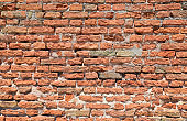 wall made of red bricks and mortar and concrete ideal as a background
