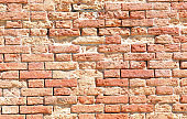rough wall made of red bricks and mortar and concrete ideal as a