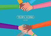 Teamwork, hands people.