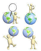 Set of 3d mans with Earth