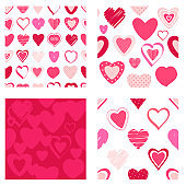 Set of seamless patterns with Valentine hearts of red and pink colors