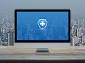 Business healthy and medical care insurance online concept