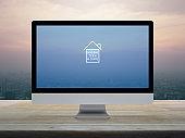 Business social distancing online concept