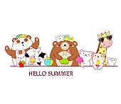 Horizontal border with cute animals in kawaii style