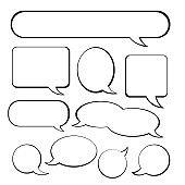 Set of retro empty comic speech bubbles