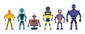 Set cartoon robots.