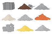 Building material piles.