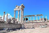 Ruins and columns of Temple of Trajan at Acropolis of Pergamon, Turkey