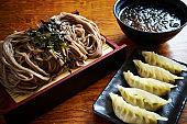 Cold soba noodle and dumpling