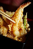 Tempura on rice