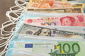 World currency with face mask