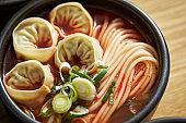 Korean spicy noodle with dumpling