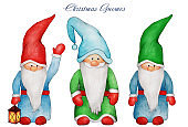 Hand drawn watercolor three Christmas gnomes with big beard and nose, waving hand, lantern. Isolated on white background. Happy New Year and Christmas illustration for greeting card, invitation