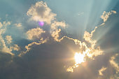 A beam of sunlight that appears to radiate from the Sun's position. Shining through openings in clouds