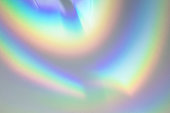 Blurred rainbow light refraction texture on white wall