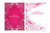 Beautiful invitation card set with copy space for your text. Decorative hand drawn openwork vector for design on a pink and white background. Invitation for Wedding, Valentine's day, Birthday.