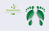 Eco Environment background.Creative Footprint with leaf plant concept.Element save planet idea.Green leaves friendly.Paper cut and craft style design on website.Decoration ecology Vector illustration.