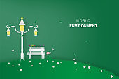 Bench in the park.City park design with modern design vector for banner background.Creative paper cut and craft style.Ecology environment relax concept.wallpaper, web landing page minimal illustration