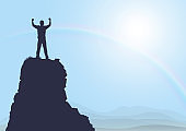 Silhouette of man standing on top of the mountain with fists raised up on sunrise with rainbow background, success, achievement and winning concept vector illustration