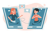 Online dating vector isolated illustration