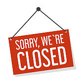 Sorry we are closed sign vector isolated