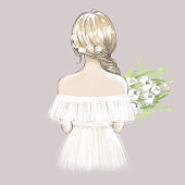 Cute girl, young woman, bride with a bouquet of peonies. Hand drawn illustration