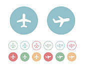 Set of flat and simple icons of airplanes