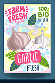 Abstract splash Food label template. Colorful brush stroke. Vegetables, fruits, spices, package design. Garlic, slice, herbs, ripe. Organic fresh.