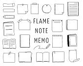 Set of hand drawn illustrations of notebook frames