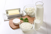 Many dairy products on the table