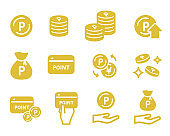 Set of point related icons(loyalty card)