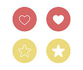 heart and star icon set