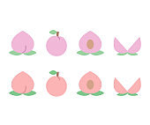 Vector illustration of peach icon in flat style