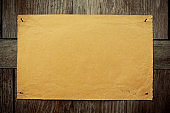 Blank brown paper notice on wood background textured