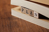 The word PLAN on a wooden block