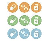 Pills icon set.