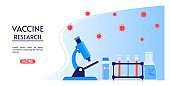 Medical or laboratory research. Testing of vaccine of coronavirus . Vaccine research, landing page with microscope, test tubes, flask.