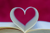 Hard cover book page decorate to heart shape for love in valentine day