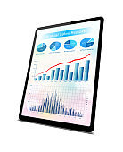 (Clipping path!) Business growth chart in Digital Tablet PC isolated on white
