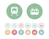 Set of flat and simple icons of train