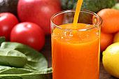 orange vegetable juice and ingredients