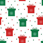 Seamless pattern of festive gift boxes, vector illustration Wallpapers.