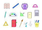 School items notebook pen ruler backpack textbook paint calculator. Color Vector illustration. Concept education of Back to school.